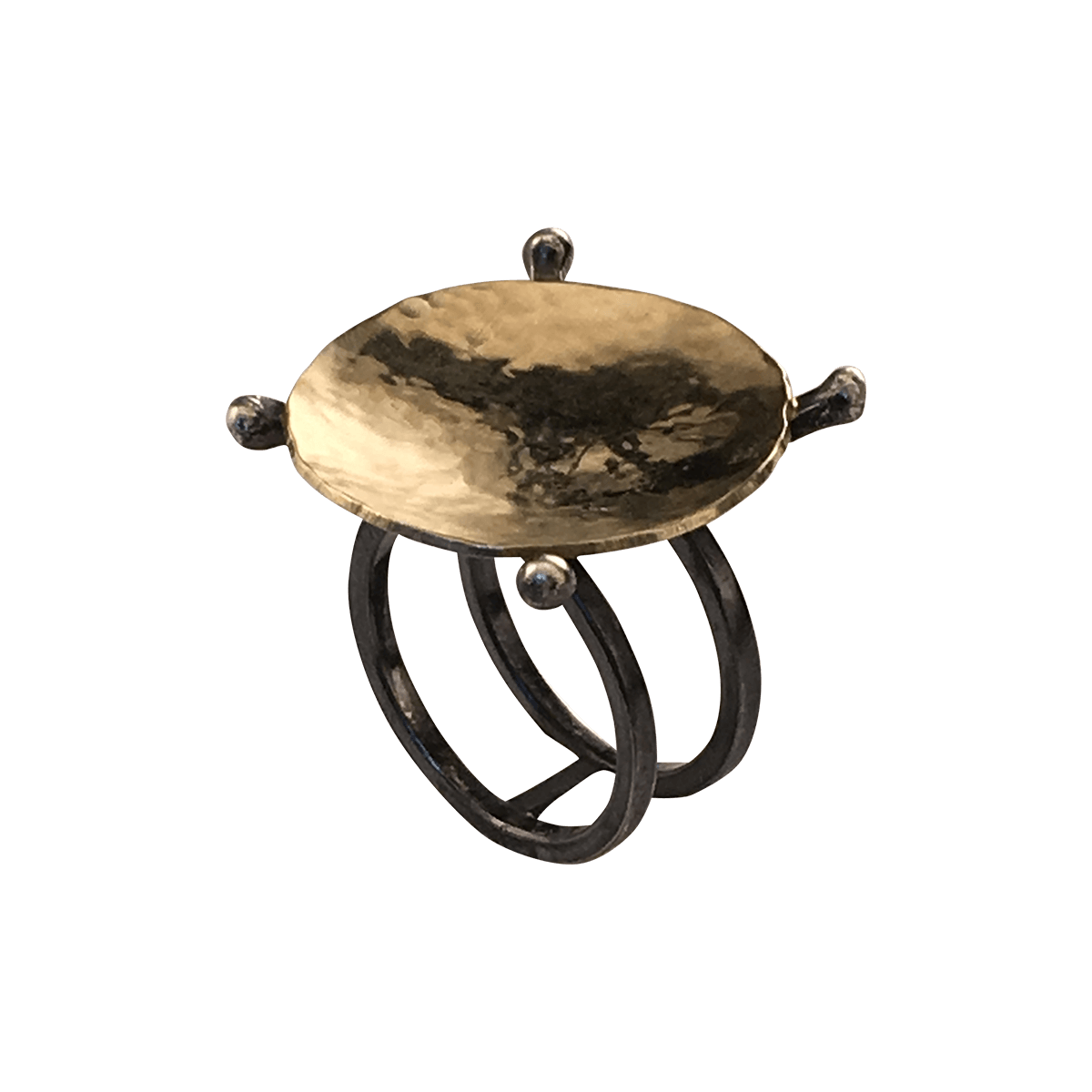 Pernille Müller - yppig ring i guld og oxideret sølv