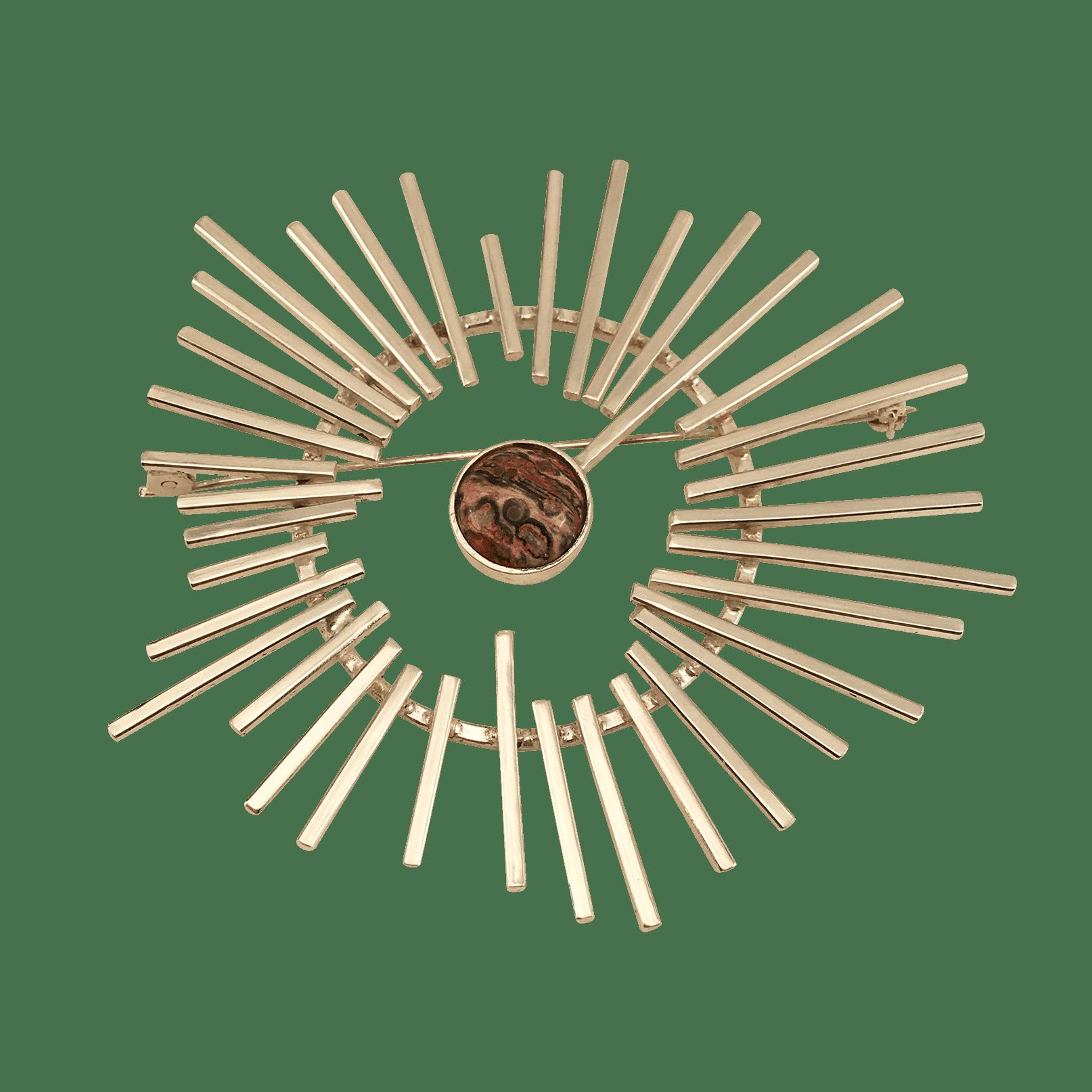 STRÅLE broche i sølv med smykkesten i Leopardskin Jasper
