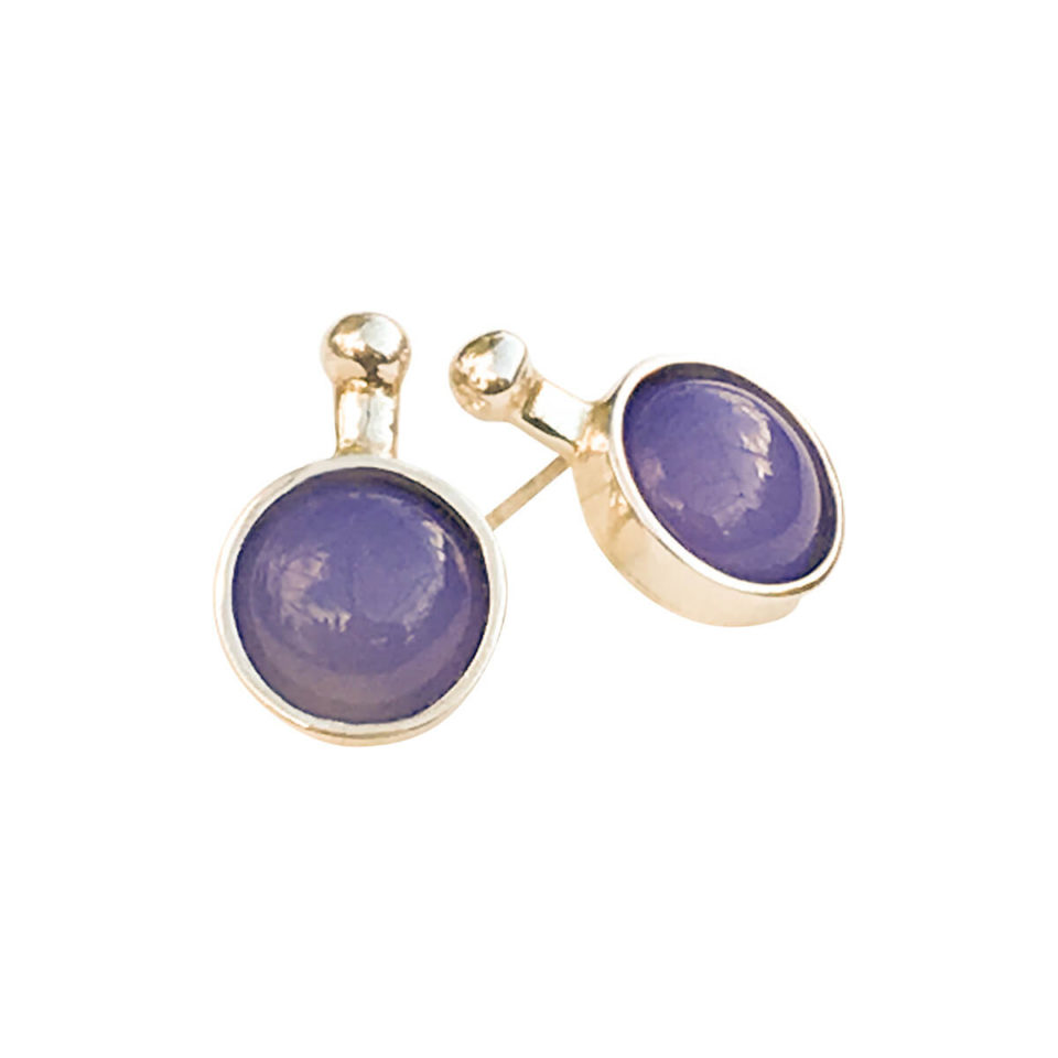 SVEJ ørering i sterling sølv med smykkesten i Lavendelfarvet Agat