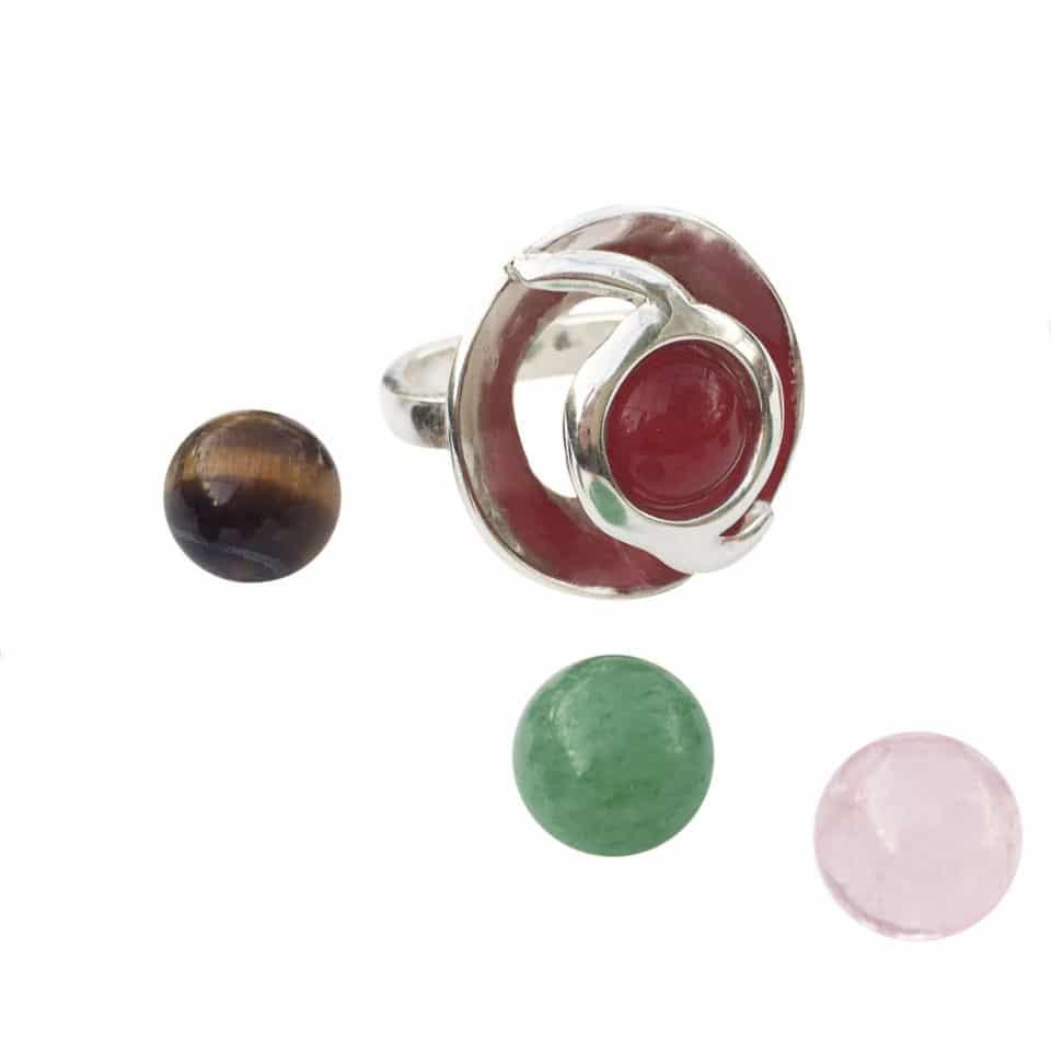 Venus ring med rød agat 2