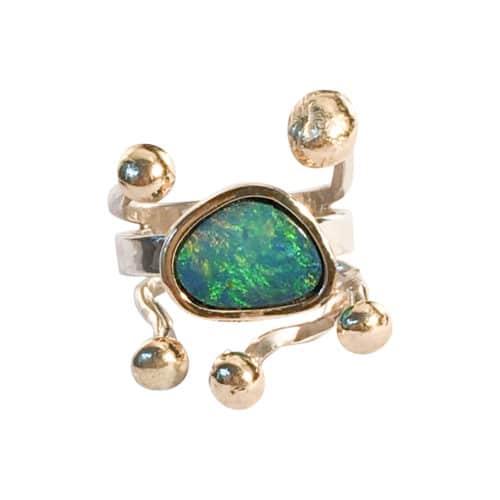 Pernille Müller - Pernille Müller -HARMONI - ring med opal og guldknopper 4
