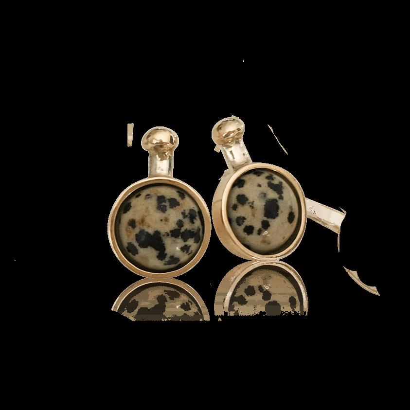 SVEJ ørering i sølv med guldknop og guldindfatning af smykkesten i Dalmatian Jasper 1
