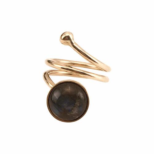 Pernille Müller - SVEJ ring i guld med smykkesten i Labradorit 1