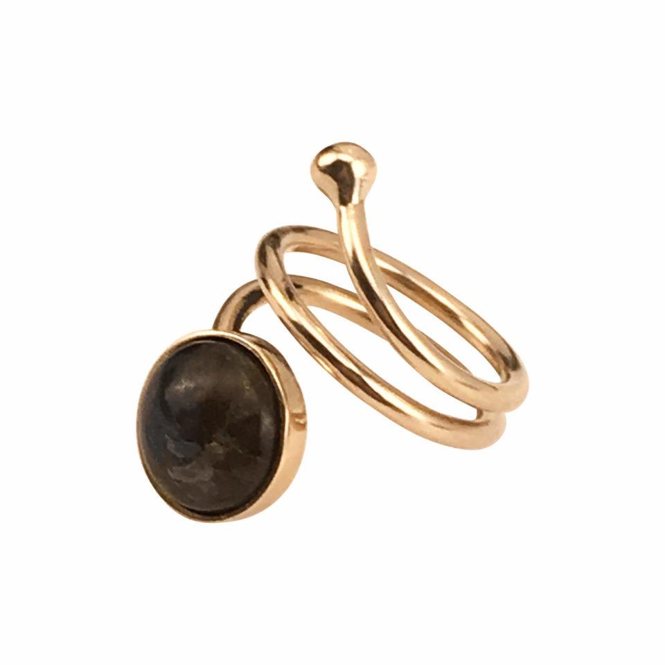 SVEJ ring i guld med smykkesten i Labradorit 3