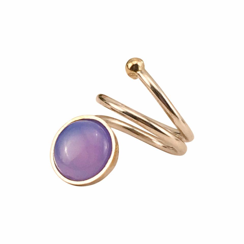 SVEJ ring i sølv med smykkesten i Lavendelfarvet Agat 2