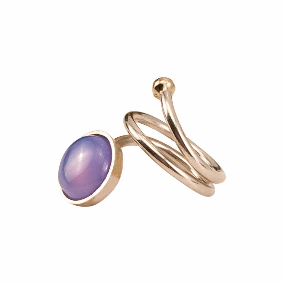 SVEJ ring i sølv med smykkesten i Lavendelfarvet Agat