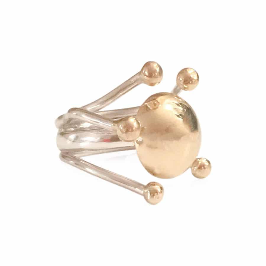HARMONI ring i sterling sølv med 14 karat guldkuppel og guldknopper 1